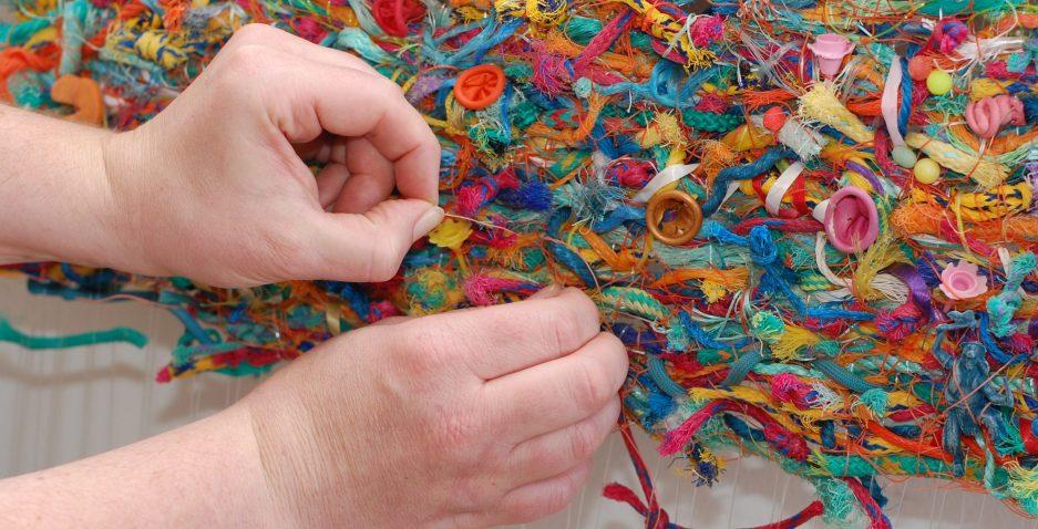 Jo Atherton weaving with flotsam