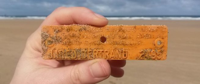 Jared Bertrand's lobster tag which drifted to Cornwall, UK from Maine, USA