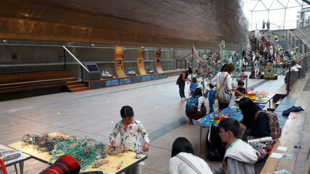 Weaving flotsam fish directly beneath the iconic Cutty Sark ship, London (2017)