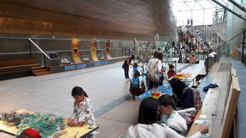 Flotsam Weaving workshop beneath the Cutty Sark, 2017