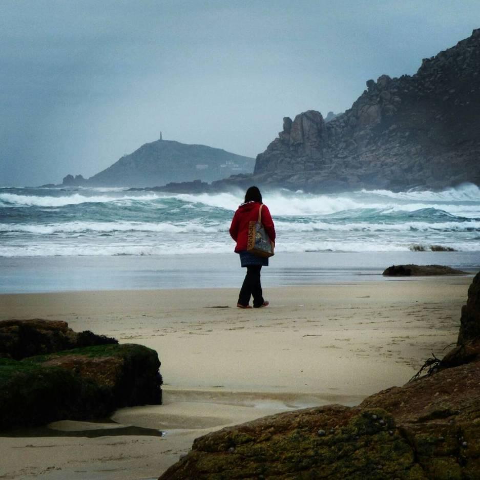 Artist Jo Atherton beachcombing in Cornwall